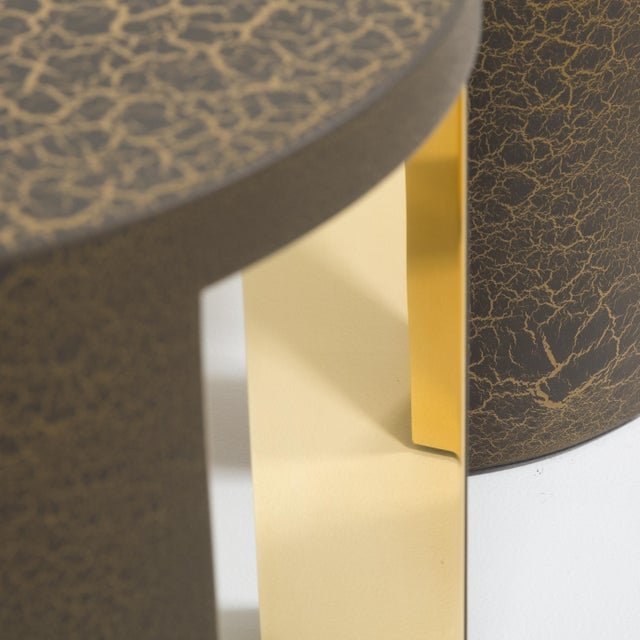 The Circular Crackle Side Tables by Talisman Bespoke (Bronze and Gold) For Sale - Image 9 of 10
