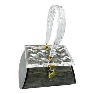 Vintage Rialto NY Pearlized Silver Lucite Box Purse