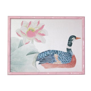 """1970s Vintage """"Goose & Lotus"""" Framed Chinoiserie on Silver Silk Painting For Sale"""