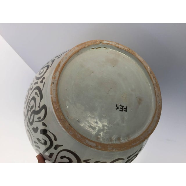White Large Moroccan Glazed Ceramic Vase From Fez With Arabic Calligraphy Writing For Sale - Image 8 of 9