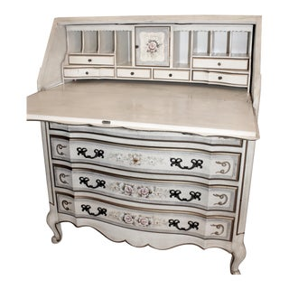 20th Century French Floral Hand Painted Secretary Desk For Sale