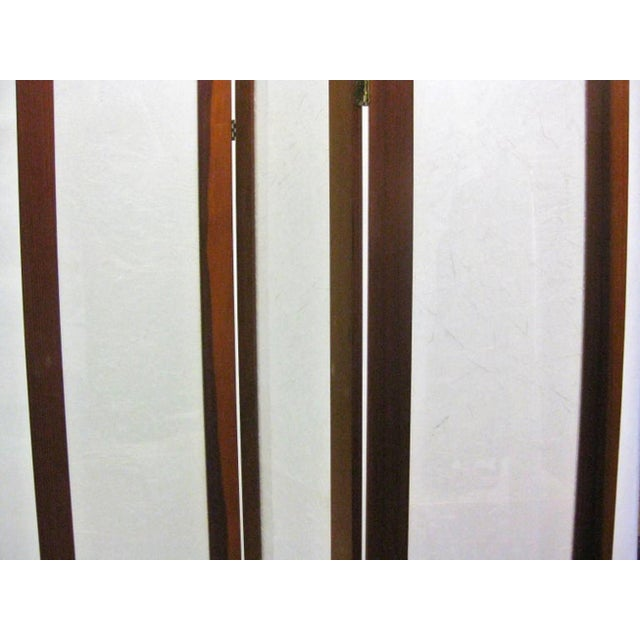 Mid-Century Modern Textured Fiberglass and Teak Folding Screen For Sale - Image 3 of 5