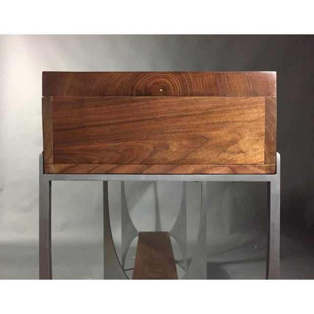 Richard Vellosso Walnut & Steel Console Table, Usa For Sale - Image 10 of 13