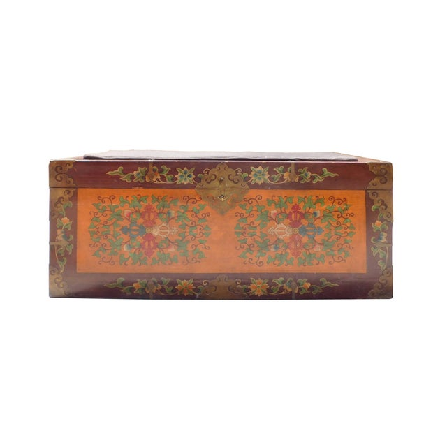 Floral Orange Brown Wood Trunk Bench Ottoman - Image 1 of 6