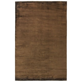 Exquisite Rugs Durham Hand loom Viscose Chocolate Rug-14'x18' For Sale