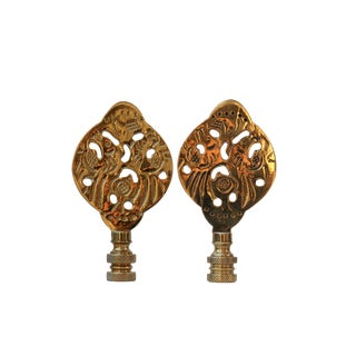 Chinoiserie Brass Lamp Finials - a Pair For Sale