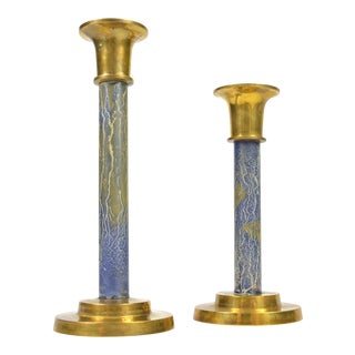1970s Weber Brass Candle Holders- a Pair For Sale