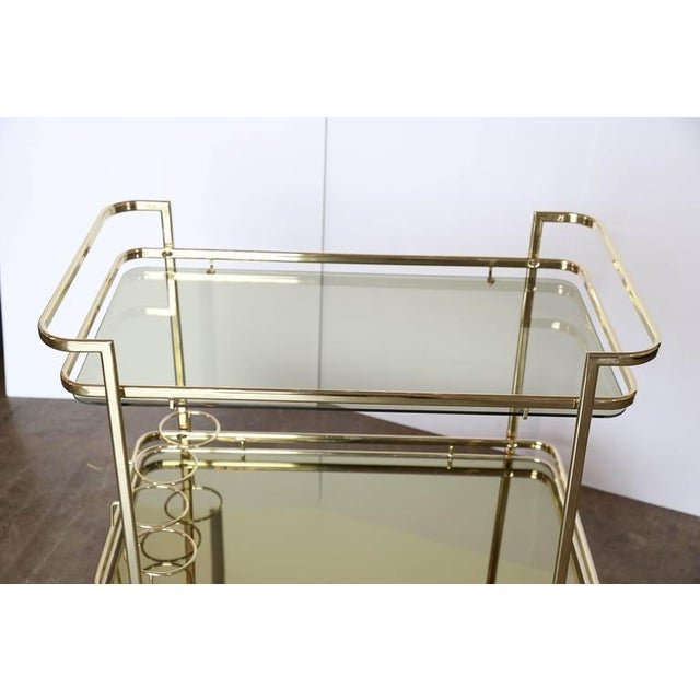 Gold Metal, Glass and Mirror Two-Tier Bar, Tea Cart or Serving Cart - Image 4 of 8