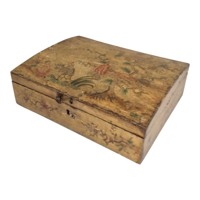 Yellow Chinoiserie Domed Box For Sale