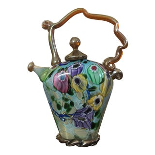 Paul Allen Counts Handblown Glass Teapot Signed For Sale