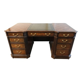 Maitland-Smith Partners Wood + Leather Desk For Sale