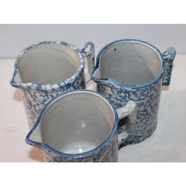 Group of Three 19th Century Spongeware Pitchers For Sale - Image 4 of 4