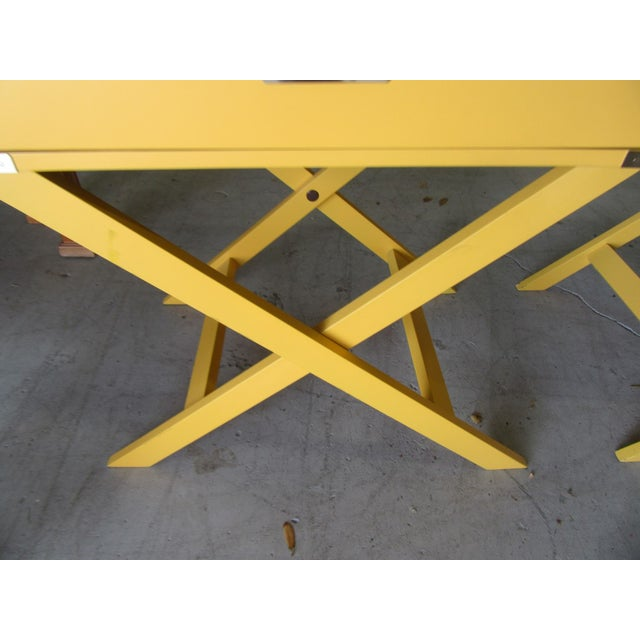 1990s Campaign Yellow Side Tables - a Pair For Sale - Image 5 of 7
