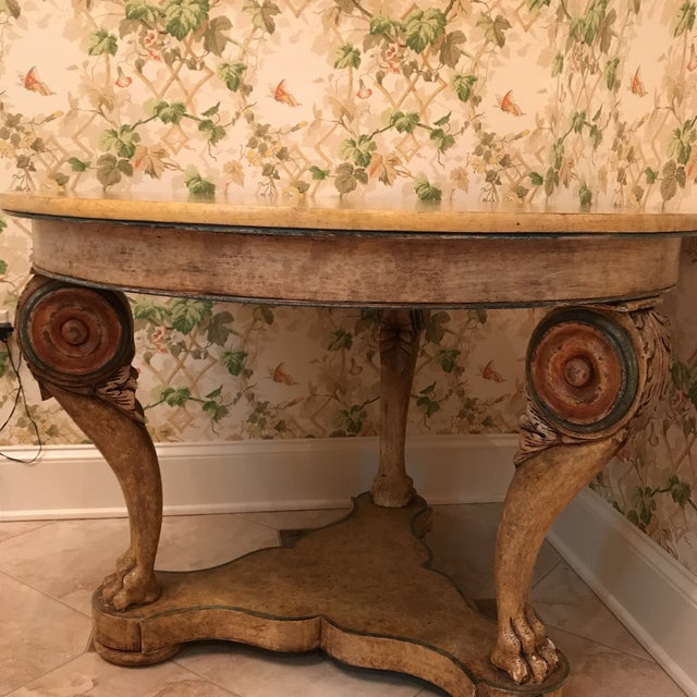 Beautiful center hall table, distressed wood with lots of detail and character. Made in the 2000s.