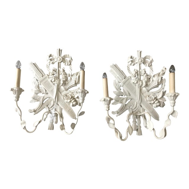 1940s Palladio Italian Lighted Double Sconces With Arrows, Torch and Rose - a Pair For Sale