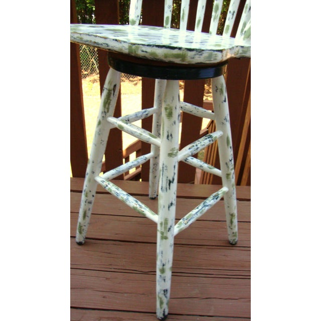 Country Cottage Hand Painted Distressed Bar Stool - Image 6 of 11