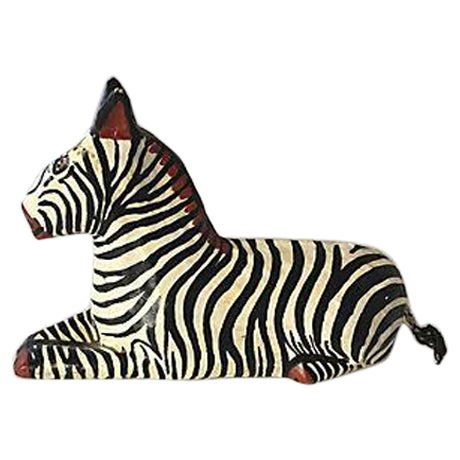 Painted Papier Mache Zebra For Sale