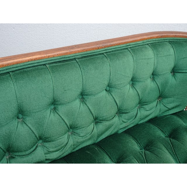 1950s Vintage French Country Tufted Green Velvet Settee Loveseat W Cane #2 For Sale - Image 5 of 13