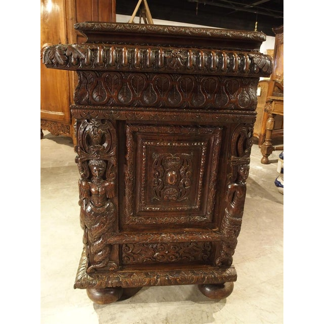 French Walnut Wood Renaissance Buffet For Sale - Image 4 of 11