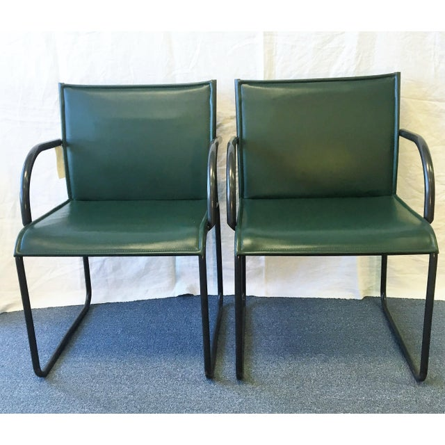 Set of Four Vintage 1985 Richard Schultz for Knoll Chairs with dark green leather and charcoal grey metal arm and leg...