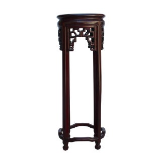 Chinese Red Brown Mahogany Round Straight Legs Pedestal Stand For Sale