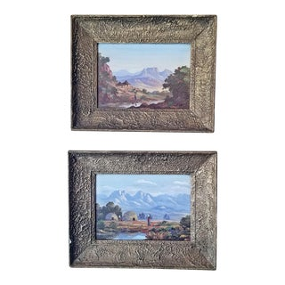 20c Pair of Oil on Boards by Percy Wort of Natal South African Scenes For Sale