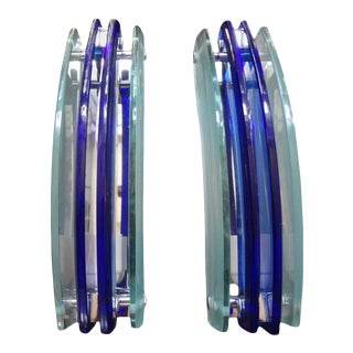 1960's Murano Blue and Frosted Glass Sconces by Veca-Pair For Sale