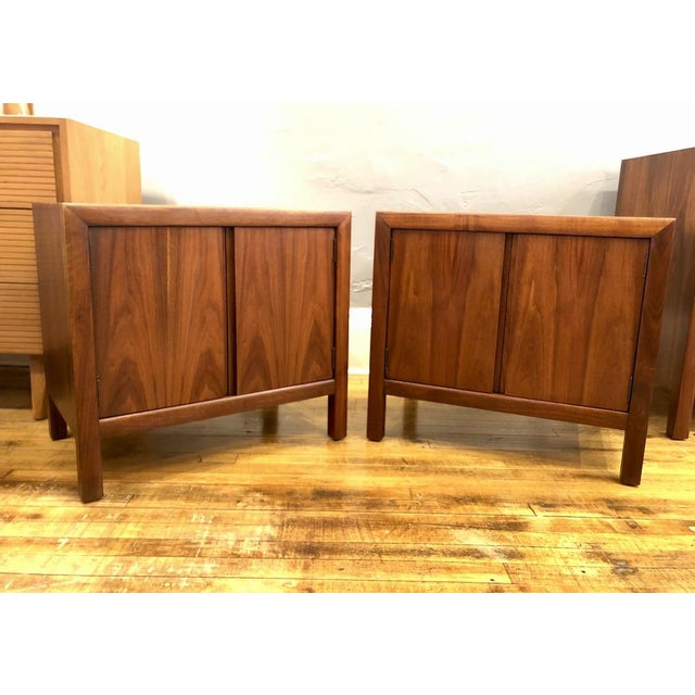 Pair of Mid Century Walnut Nightstands 196s For Sale - Image 11 of 11