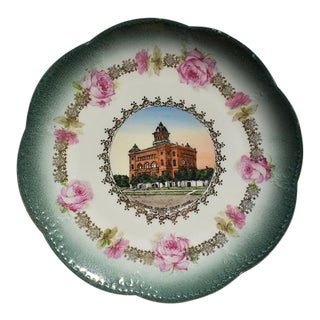 Kingfisher Oklahoma Scalloped Round Decorative Souvenir Plate in Emerald Green For Sale