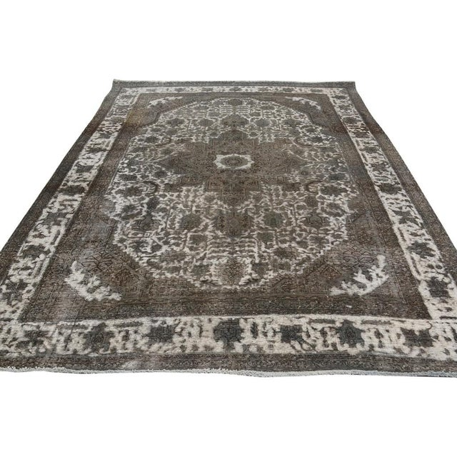 """Vintage Distressed Color Reform Silas Gray/Gray Wool Rug - 7'8"""" X 11'0"""" For Sale - Image 4 of 7"""