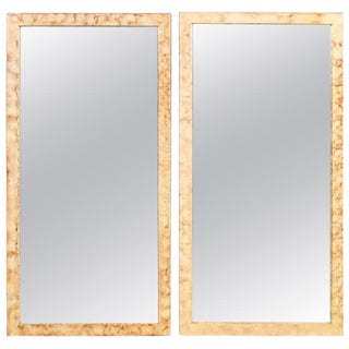 Pair of Rectangular Hollywood Regency Faux Marble Wall, Console or Pier Mirrors For Sale