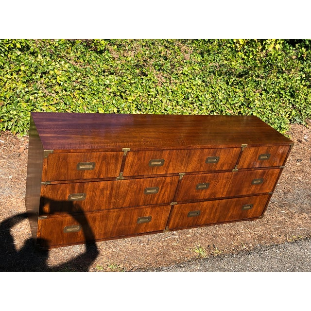 Brown 20th Century Campaign Henredon Triple Dresser For Sale - Image 8 of 13