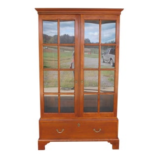 "Stickley Colonial Williamsburg Cherry Chippendale Style 2 Door Bookcase ""A"" For Sale"
