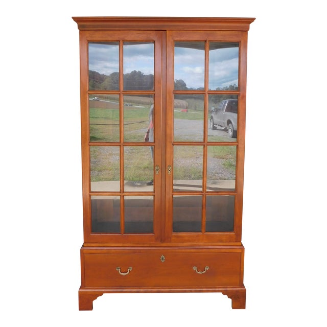 """Stickley Colonial Williamsburg Cherry Chippendale Style 2 Door Bookcase """"A"""" For Sale"""