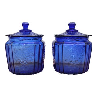 1930s Traditional Cobalt Blue Depression Era Glass Jars - a Pair