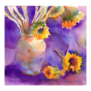 Original Sunflowers on Purple Watercolor Painting For Sale