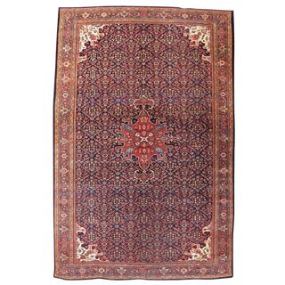Fereghan Sarouk Carpet With Blue Field - 6′11″ × 10′4″ For Sale