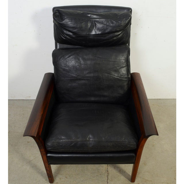 Rosewood Black Leather High back Lounge Chair Vatne Mobler Knut Saeter Also attributed to Otto Hans Olsen Condition-...