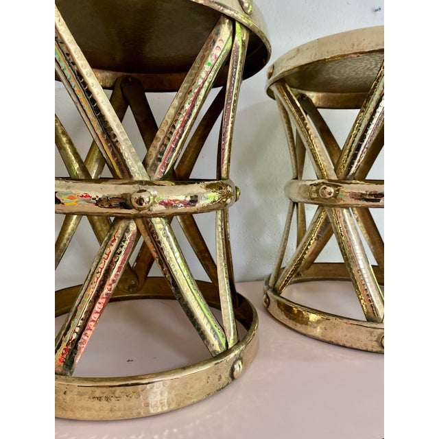 Mid Century Hollywood Regency Polished Brass Drum Tables, a Pair For Sale - Image 10 of 11