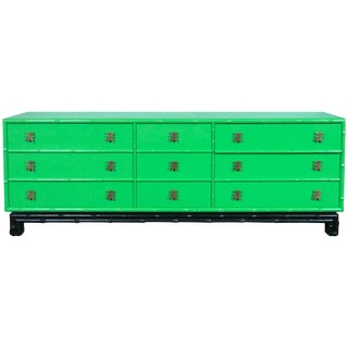 1970s Chinoiserie Ficks Reed Green Faux Bamboo Credenza For Sale