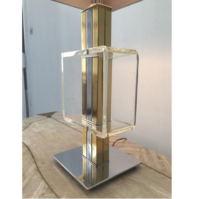 Charles Hollis Jones Brass Chrome & Lucite Lamp - Image 4 of 4