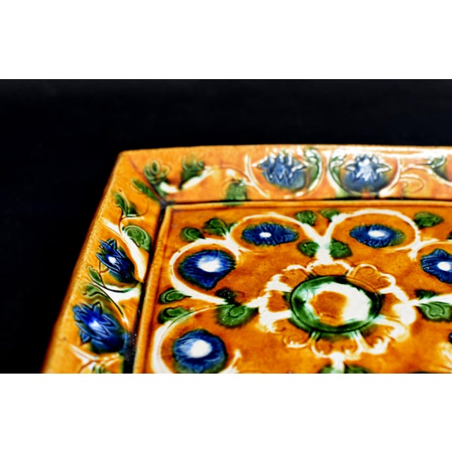 Vintage Chinese Pottery Plate Tang San Cai With Chrysanthemum For Sale In Los Angeles - Image 6 of 12