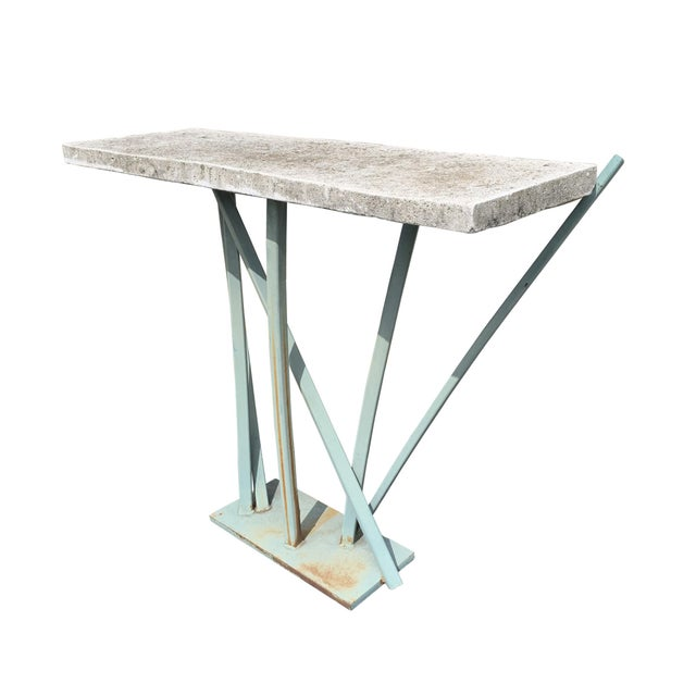 Late 20th Century Iron and Cast Stone Console Table by Joseph Wesner For Sale - Image 5 of 13