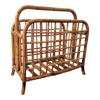Vintage Bamboo Magazine Rack/ Basket For Sale