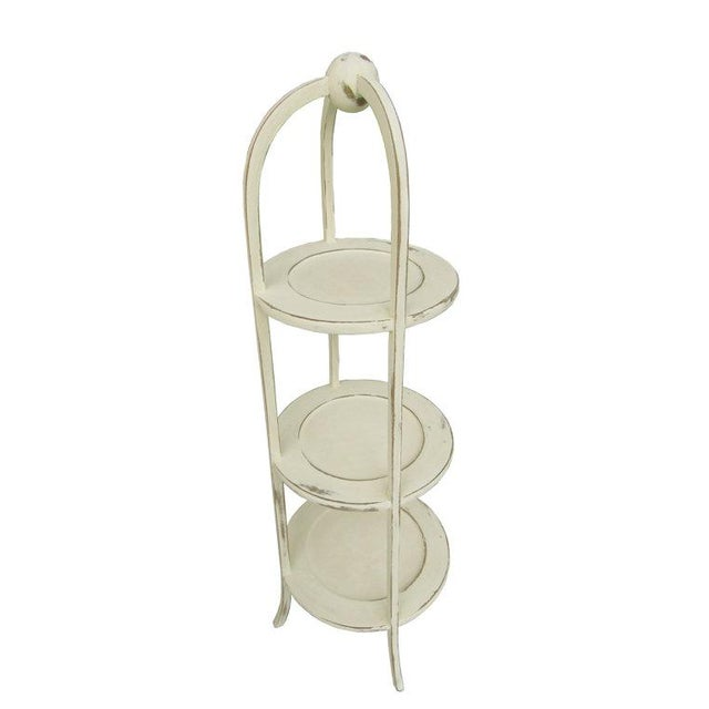 Cottage Vintage 3-Tier English Side Table For Sale - Image 3 of 5