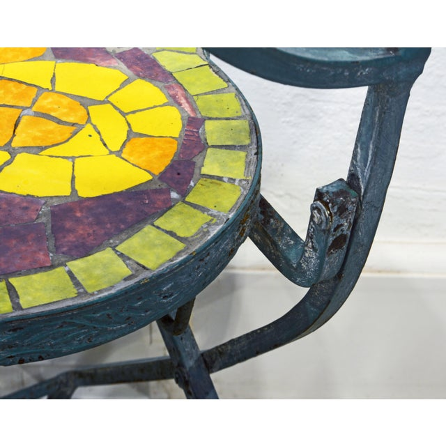 Unique Painted Iron and Inlaid Ceramic Mosaic Butterfly Chairs - a Pair For Sale - Image 12 of 13