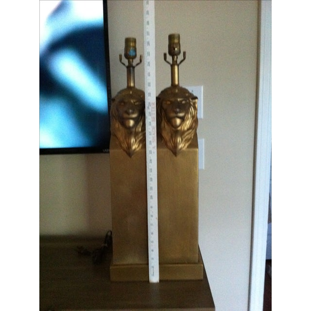 Vintage Custom Pottery Lion Lamps - Pair - Image 5 of 8
