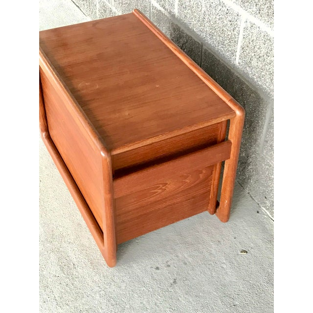 Beautiful vintage Danish modern file cart. Made of solid wood. Pieces can separate by lifting the top from the bottom. The...