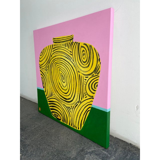 "Jelly Chen ""Yellow Vase"" Original Acrylic Painting For Sale - Image 4 of 5"