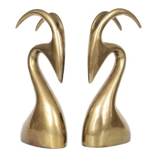 Brass Rams Bookends Sculptures A-Pair - Mid Century Modern Karl Springer Style Modernist Minimalist Cubist Palm Beach Chic For Sale